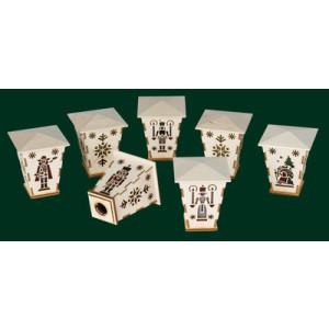 Aufstecklaternen 7-tlg. für Schwibbogen Seiffen Erzgebirge Weihnachten NEU 92125