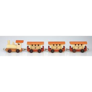 Holzeisenbahn Personenzug 26 cm Lokomotive Bahn Holz Zug Lok Miniatur NEU 35/11