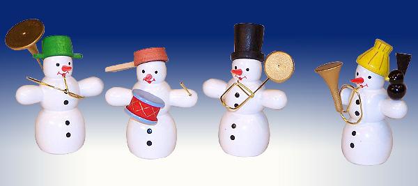 Weihnachtsdekoration Schneemann Quartett mit Instrumenten bunt BxHxT 5x6x4cm NEU