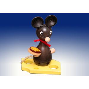 Ganzjahresdekoration Maus auf Käse mit Pizza Höhe 7cm NEU
