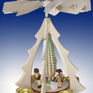 Tischpyramide Weihnachtsmann bei der Bescherung natur BxHxt 25x32x28,5cm NEU