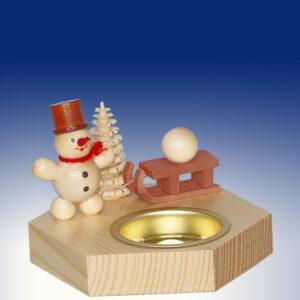 Weihnachtsdekoration Teelichthalter Schneemann kleine mit Schlitten natur BxHxT 6,5x10,5x6,5cm NEU