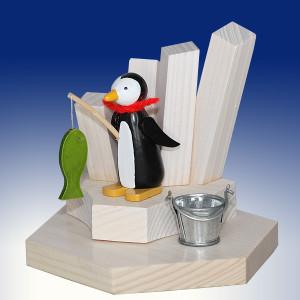 Weihnachtsdekoration Teelichthalter Pinguin beim Eisangeln bunt BxHxT 6,5x9x6,5cm NEU