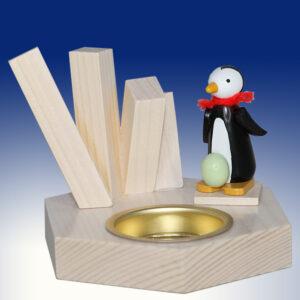 Weihnachtsdekoration Teelichthalter Pinguin mit Ei bunt BxHxT 6,5x8x6,5cm NEU