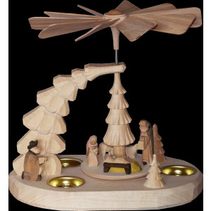 Teelichtpyramide mit Geburt natur