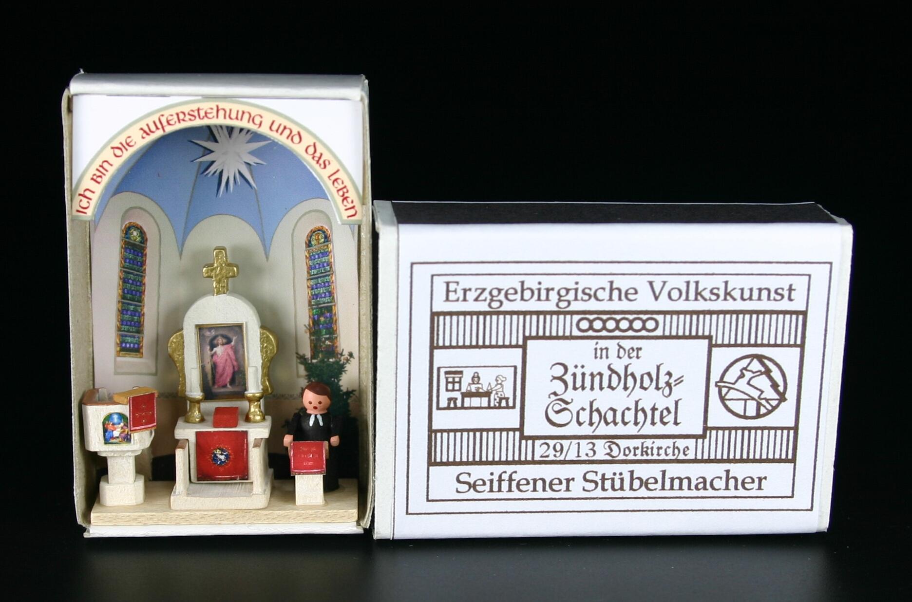 Miniaturzündholzschachtel Pfarrer am Altar BxH 5x4 cm NEU
