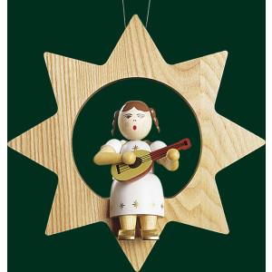 Christbaumschmuck Engel mit Mandoline im Stern Baumbehang Weihnachtsbaum 13501