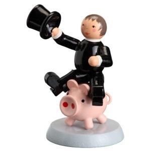 Tischdekoration Glücksbringer Essenkehrer auf Schwein H= 7,5cm NEU