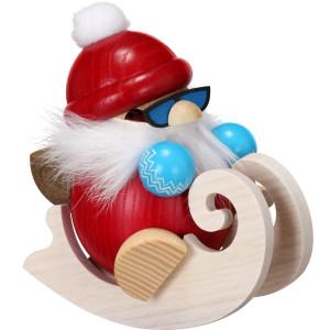 Weihnachtsfigur Kugelräuchermann Nikolaus im Schlitten HxBxT = 12x9x13cm NEU