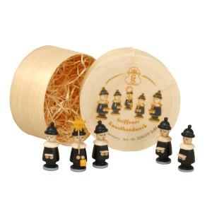 Weihnachtsdekoration Spanschachtel mit Kurrendefiguren schwarz Höhe 3,2 cm NEU