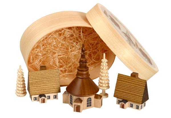 Weihnachtsdekoration Spanschachtel mit Dorf Seiffen natur Höhe 7 cm NEU