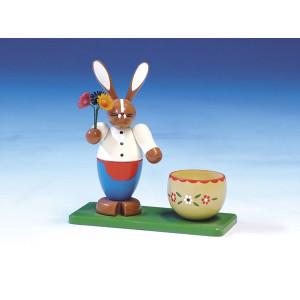 Osterfigur Osterhase mit Eierbecher bunt Höhe 13 cm NEU