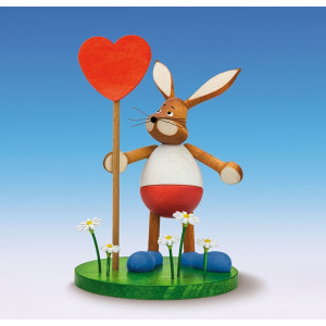 Osterfigur Osterhase mit Herz Höhe 15 cm NEU