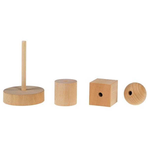 Holzspielzeug Holzsteckturm Walze Kugel Würfel LxBxH 75x75x145mm NEU