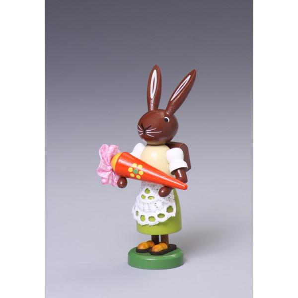 Osterfigur Hase mit Zuckertüte Höhe ca 9 cm NEU