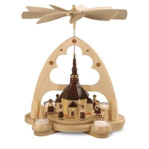 Tischpyramide Tischpyramide Seiffener Kirche LED Beleuchtung batteriebetrieben (LxBxH):29x22x34cm NEU