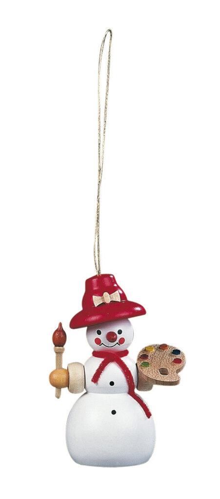 Christbaumschmuck Baumbehang Schneefrau Malerin farbig Höhe 8 cm NEU