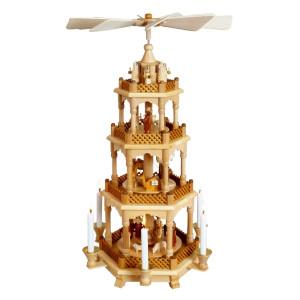 Pyramide Christi Geburt mit Engeln natur BxHxT 35x68x35cm NEU