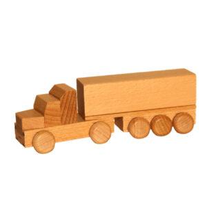 Holzspielzeug Sattelzug mit Pritsche natur Länge ca. 15 cm NEU