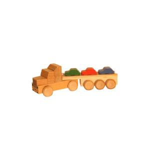 Holzspielzeug Sattelzug mit Autoauflieger bunt Länge ca. 15 cm NEU