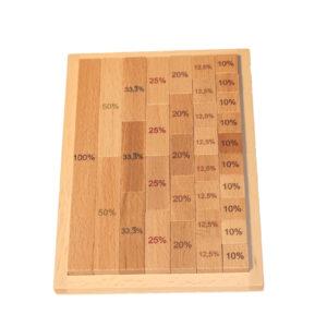 Lernspielzeug Bruch -und Prozentrechner Länge im Tableau aus Holz BxHxT 14,5x19,5x2cm NEU