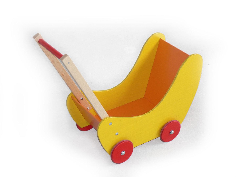 Holzspielzeug Puppenwagen gelb BxLxH 620x310x530mm NEU