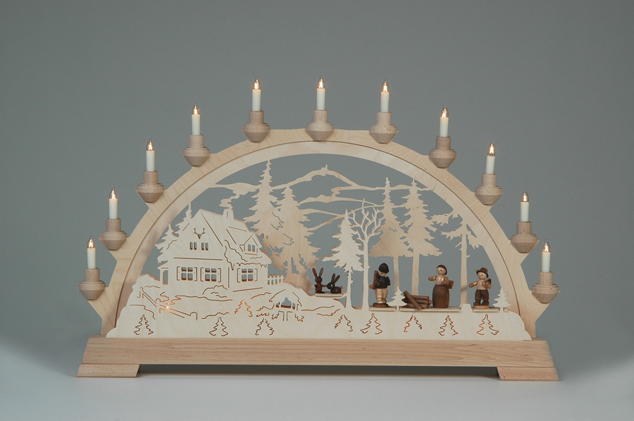 Schwibbogen Forsthaus mit Waldleute mit Figuren 65 x 40 cm NEU