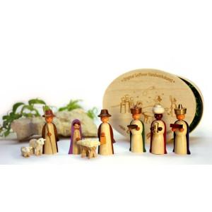 Miniaturen Christi Geburt in Spandose, farbig 14,5cmx8cm h=5cm NEU