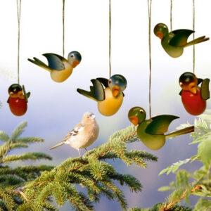 Baumbehang Vogel hängend, farbig sortiert, 6 Stück 5cm NEU