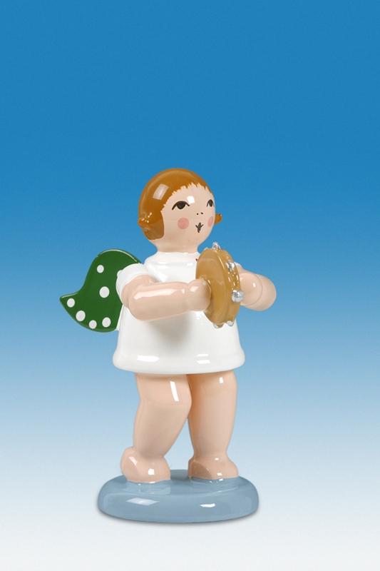Engelmusikant Engel mit Tamburin ohne Krone Höhe ca 6 cm NEU