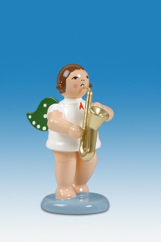 Engelmusikant Engel mit Saxophon mit Krone Höhe ca 6 cm NEU
