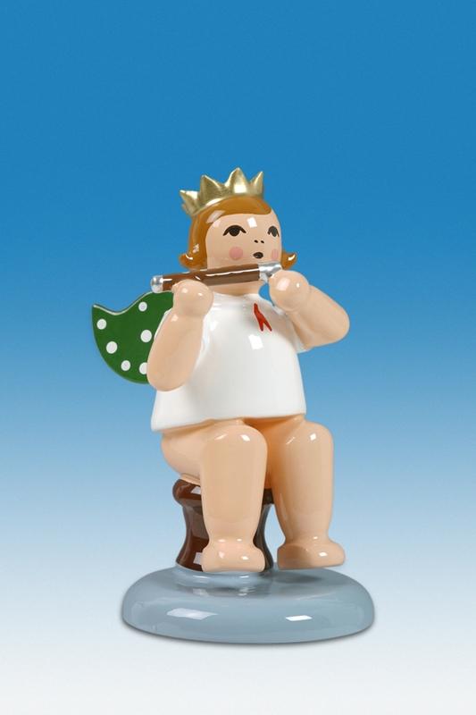 Engelmusikant Engel sitzend mit Pikkoloflöte mit Krone Höhe ca 6 cm NEU