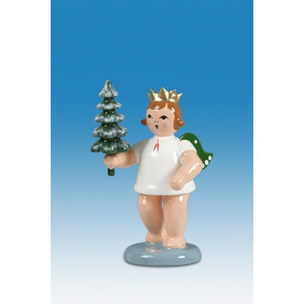 Engelfigur Adventengel mit Bäumchen ohne Krone Höhe ca 6 cm NEU