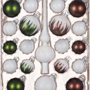 20-teiliges Glaskugelset Olivgrün/Marone/Weiß, uni/dekor mit Spitze 3 Kugeln 6,7cm4 Kugeln 5,7cm12 Kugeln 4,5cm 1 Spitze 23 cm NEU