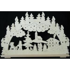 Schwibbogen Winterwald groß mit Kerzen B x H= 70x41cm NEU