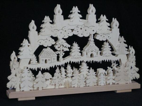 Schwibbogen el. Beleuchtet mit Wald ,Kirche,Haus und Tiere B x H= 50x32cm NEU