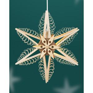 Fensterschmuck Spanstern doppelt el. Beleuchtet Mitte mit Stern (Beidseitig) BxHxT=32x32x8cm NEU