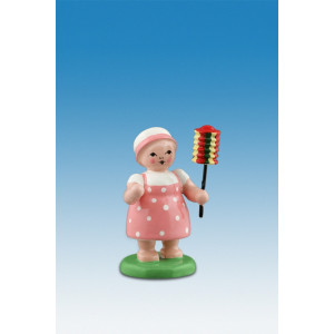 Blumenkinder kleines Mädchen mit kurzem Lampion Höhe ca 6,5 cm NEU