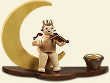 Kerzenhalter Engelmusikant auf Mond mit Krone Engelhöhe ca 6,5 cm NEU