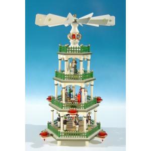 Weihnachtspyramide histor. Farben / 4 Etagen Höhe ca 45 cm NEU