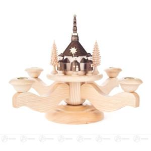 Adventsleuchter mit Seiffener Kirche und Kurrende, natur, für Kerzen d=20mm Breite x Höhe x Tiefe 26 cmx22,5 cmx26 cm NEU