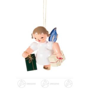Baumschmuck Behang Engel mit Geschenken, blaue Flügel Breite x Höhe x Tiefe 4 cmx5 cmx4 cm NEU