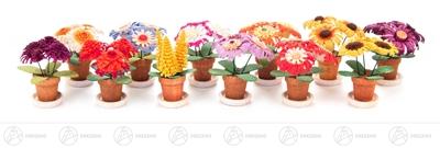 Miniatur Blumenstöckchen (12) Höhe ca 4 cm NEU