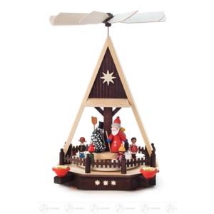 Pyramide mit Kindern, Weihnachtsmann und Schneemann, für Kerzen d=14mm Breite x Höhe x Tiefe 20 cmx33,5 cmx19 cm NEU