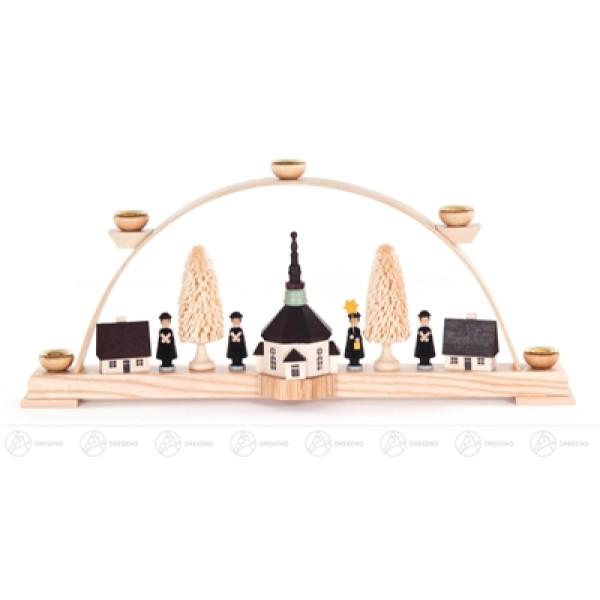 Schwibbogen mit Seiffener Kirche und Kurrende, für Kerzen d=14mm Breite x Höhe x Tiefe 44 cmx19,5 cmx6 cm NEU