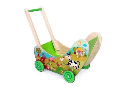 Holzspielzeug Puppenwagen Bauernhof BxLxH 620x310x530mm NEU