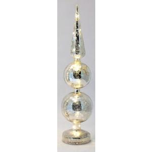 Beleuchtete Glasdekoration silber Höhe 43 cm NEU