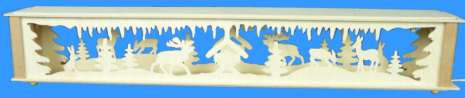 Beleuchtete Schwibbogenerhöhung mit Waldtiere Größe =72x10cm NEU