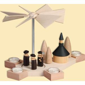 Weihnachtsdekoration Pyramide Octogonum mit Kurrende und Kirche HxBxT = 23x38x24cm NEU
