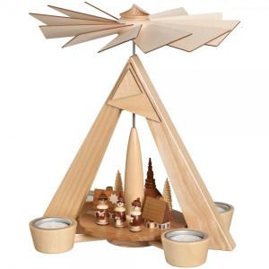 Teelichtpyramide Kurrende mit Dorf BxHxT 24,5x29x24,5cm NEU